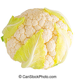 Cauliflower isolated on white background with clipping path