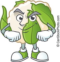 Cauliflower mascot cartoon character style with Smirking face