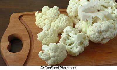Cauliflower on a chopping board