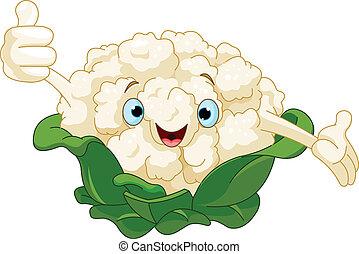 Cauliflower Presenting Something - Cartoon cute Cauliflower...