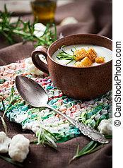 Cauliflower soup - Creamy cauliflower soup with herbs and...