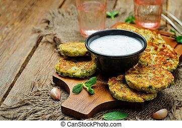 Cauliflower sweet potato Fritters with greek yogurt mint ...