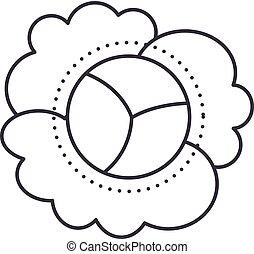 cauliflower vector line icon, sign, illustration on background, editable strokes
