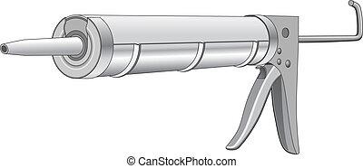 Caulk Gun - Illustration of a caulk gun used in construction...