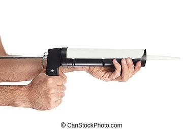 Caulking gun tool and hands