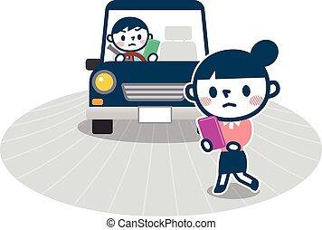 causado, afastado, acidentes, tráfego, olhar