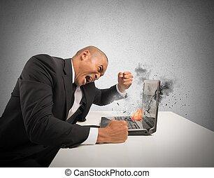 causado, tensão, computador, frustração