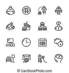 Causes and prevention of Childhood Obesity, Vector line icons set