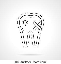 Causes dental disease flat line vector icon