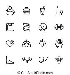 causes, icons, диетический, obesity., вектор, здоровье,...