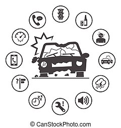 Causes of Car Accidents. Simple rounded insurance icons set. Vector icon design