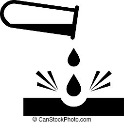 Caustic chemicals danger sign - Caustic chemicals danger...