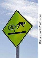 cautela, bicicleta, sinal perigo