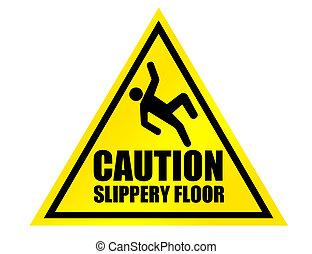 cautela, chão, escorregadio, sinal