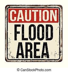 cautela, inundação, área, vindima, metal enferrujado, sinal