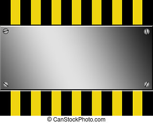 Caution advertisment - Yellow and black lines with chrome...