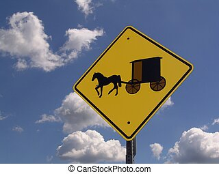Caution Amish - road sign, caution Amish