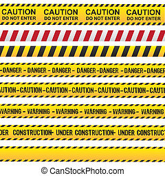 Caution and danger ribbon over white background vector...