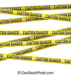 Caution and  danger yellow tape