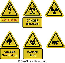 caution and hazard signs vector