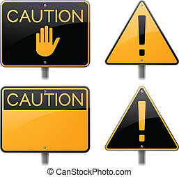 Caution and Warning Signs - Caution and warning signs.