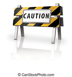 Caution Barrier - Digital Illustration concept of a caution...