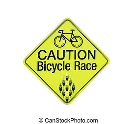 caution bicycle race sign