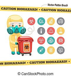 Caution Biohazard Icons and Doctor with Red Container....