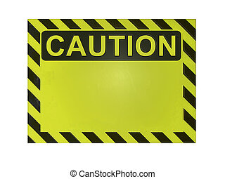 Isolated blank caution sign. Add your own warning message.