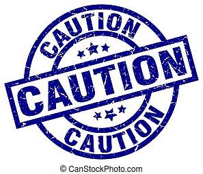 caution blue round grunge stamp