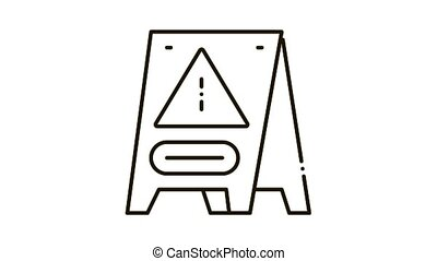 Caution Board Icon Animation. black Caution Board animated icon on white background