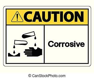 Caution Corrosive Symbol Sign on white background
