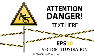 Caution - danger Beware of slippery. Safety sign. The triangular sign on a metal pole with warning bands. White background. Vector