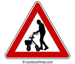 Caution elderly people