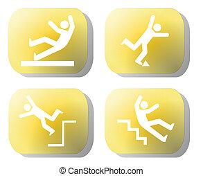 Caution falling hazards on yellow buttons illustration