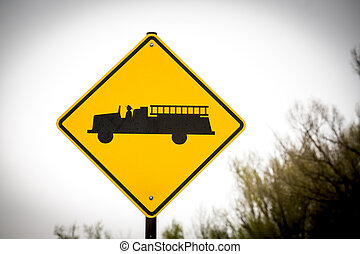caution., firestation, adelante, muestra del camino