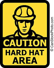 Caution hard hat area vector sign