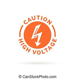 Caution high voltage sign. Electric hazard symbol. bolt arrow icon.