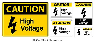 Caution High voltage Sign Isolate On White Background,Vector Illustration EPS.10