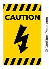 Caution High Voltage Symbol Sign Isolate On White Background