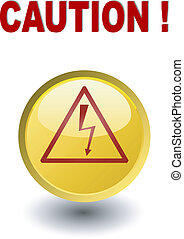 Caution - high voltage , yellow but