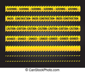 Caution lines - caution lines over black background vector...