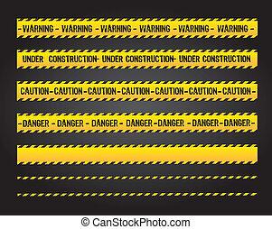 Caution lines - caution lines over black background vector...