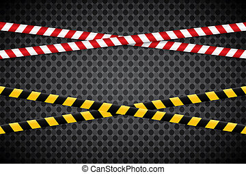 Caution lines isolated. Warning tapes. Danger signs. Vector illustration.