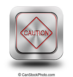 Caution mark aluminum glossy icon, button, sign