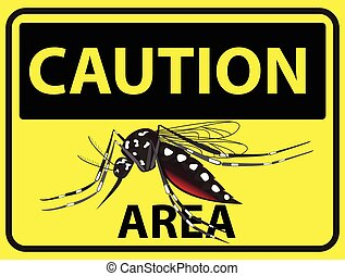 Caution Mosquitos area - Caution mosquito area. Aedes...