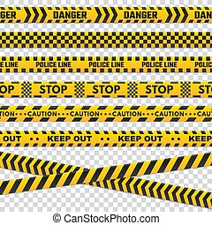 Caution perimeter stripes. Isolated black and yellow police line do not cross for criminal scene. Security lines sign or barricade tape vector set