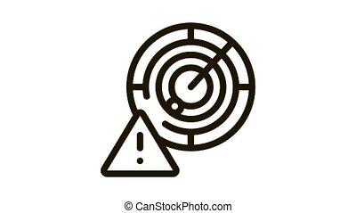 Caution Radar Icon Animation. black Caution Radar animated icon on white background