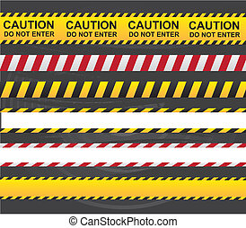 Caution ribbon - Caution and danger ribbon over gray...