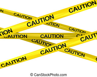 caution ribbons - 3d illustration of warning ribbons with...